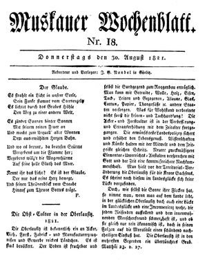 Muskauer Wochenblatt vom 30.08.1821