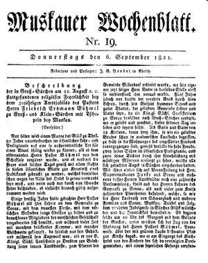 Muskauer Wochenblatt vom 06.09.1821