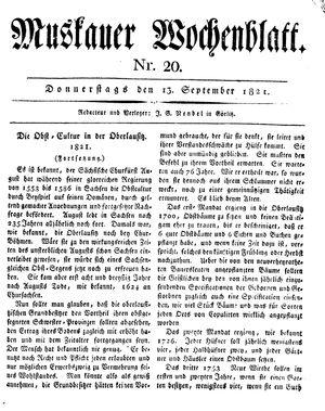 Muskauer Wochenblatt vom 13.09.1821