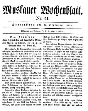 Muskauer Wochenblatt on Sep 20, 1821