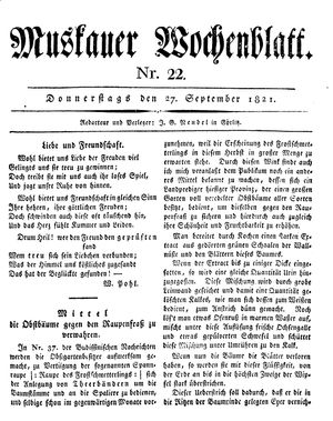 Muskauer Wochenblatt vom 27.09.1821