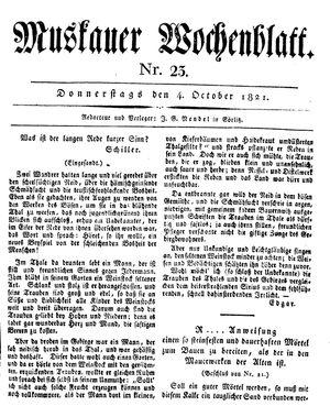 Muskauer Wochenblatt vom 04.10.1821