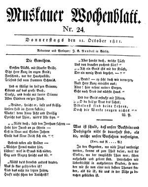 Muskauer Wochenblatt vom 11.10.1821