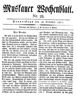 Muskauer Wochenblatt vom 18.10.1821