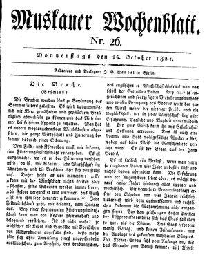 Muskauer Wochenblatt vom 25.10.1821