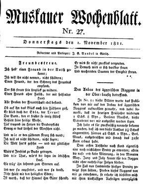 Muskauer Wochenblatt vom 01.11.1821