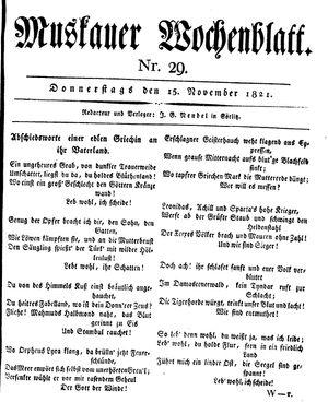 Muskauer Wochenblatt vom 15.11.1821