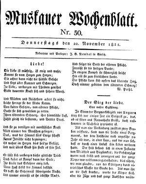 Muskauer Wochenblatt vom 22.11.1821