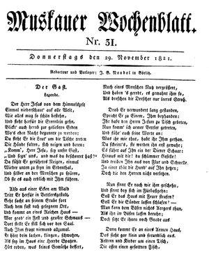 Muskauer Wochenblatt vom 29.11.1821