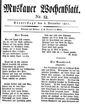 Muskauer Wochenblatt vom 06.12.1821