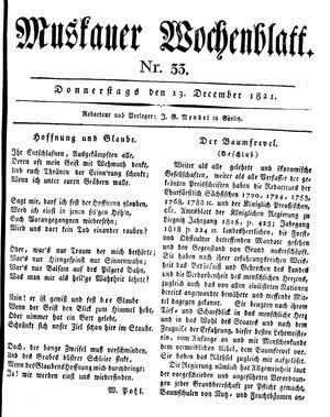Muskauer Wochenblatt vom 13.12.1821