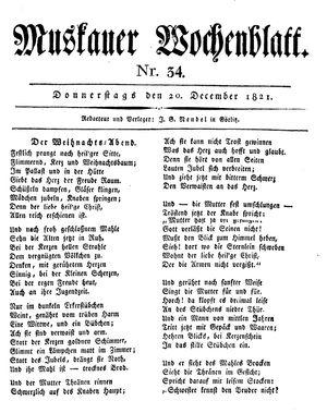 Muskauer Wochenblatt vom 20.12.1821