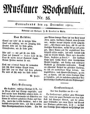 Muskauer Wochenblatt vom 29.12.1821