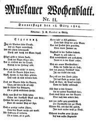 Muskauer Wochenblatt (18.03.1824)