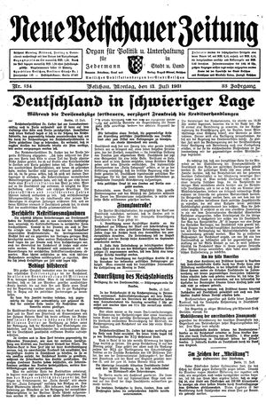 Neue Vetschauer Zeitung vom 13.07.1931