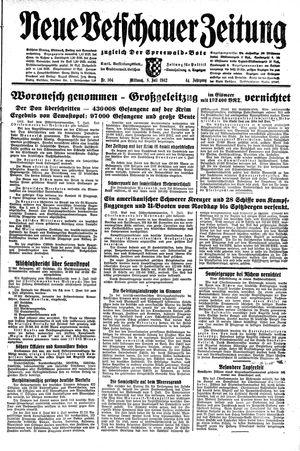 Neue Vetschauer Zeitung vom 08.07.1942