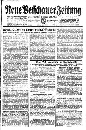 Neue Vetschauer Zeitung vom 14.04.1943