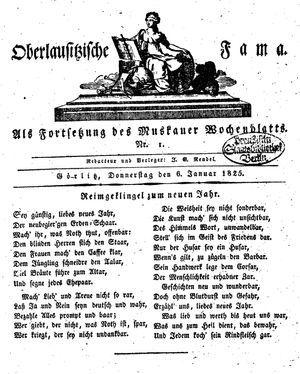 Oberlausitzische Fama vom 06.01.1825
