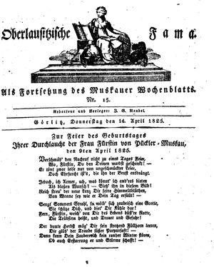 Oberlausitzische Fama vom 14.04.1825