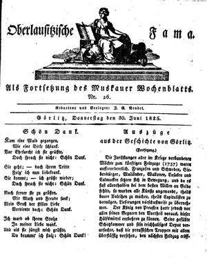 Oberlausitzische Fama vom 30.06.1825