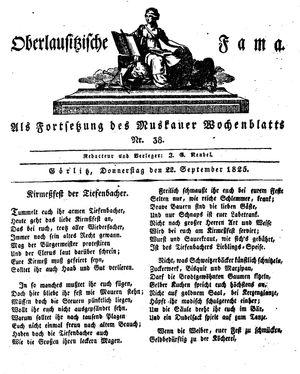 Oberlausitzische Fama vom 22.09.1825