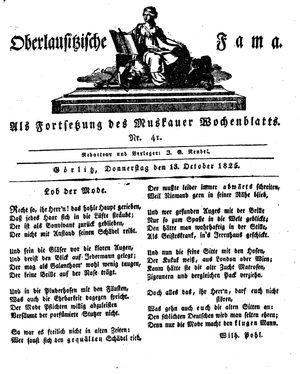 Oberlausitzische Fama vom 13.10.1825