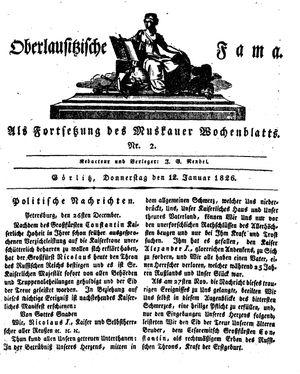 Oberlausitzische Fama vom 12.01.1826