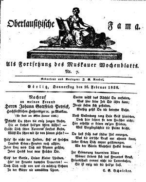 Oberlausitzische Fama vom 16.02.1826