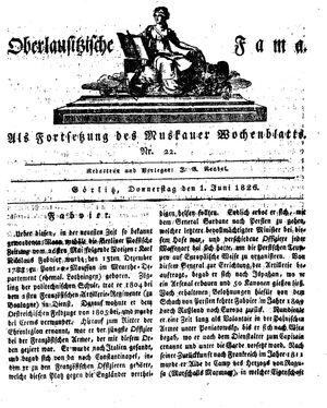 Oberlausitzische Fama vom 01.06.1826