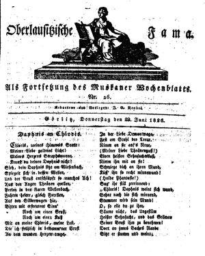 Oberlausitzische Fama vom 29.06.1826