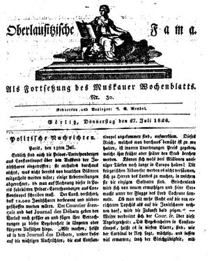 Oberlausitzische Fama vom 27.07.1826