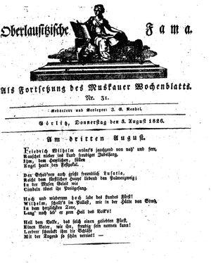 Oberlausitzische Fama vom 03.08.1826