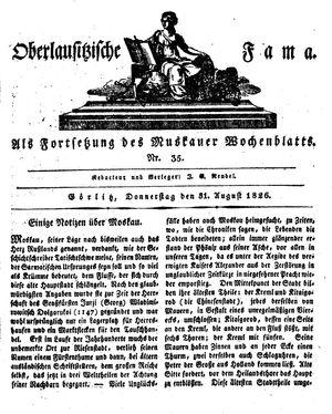 Oberlausitzische Fama vom 31.08.1826