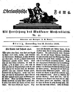 Oberlausitzische Fama vom 12.10.1826