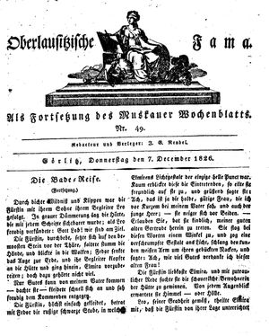 Oberlausitzische Fama vom 07.12.1826