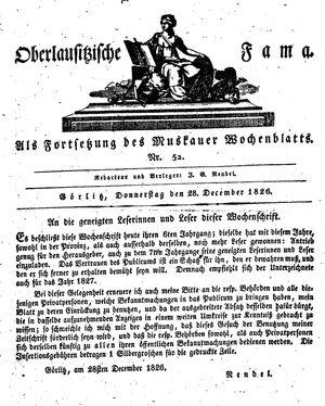 Oberlausitzische Fama vom 28.12.1826