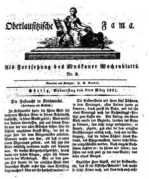 Oberlausitzische Fama vom 03.03.1831