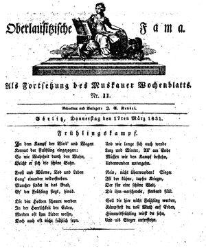 Oberlausitzische Fama vom 17.03.1831