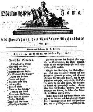 Oberlausitzische Fama vom 28.04.1831