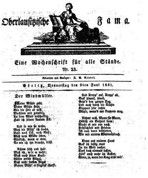 Oberlausitzische Fama vom 09.06.1831