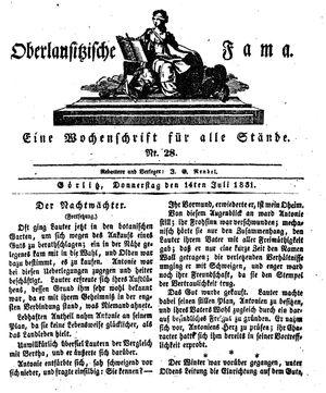Oberlausitzische Fama vom 14.07.1831