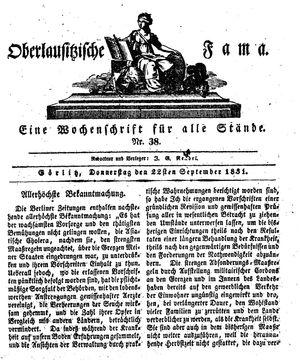 Oberlausitzische Fama vom 22.09.1831