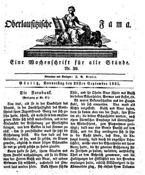Oberlausitzische Fama vom 29.09.1831