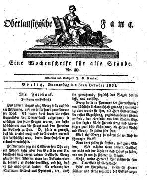 Oberlausitzische Fama vom 06.10.1831
