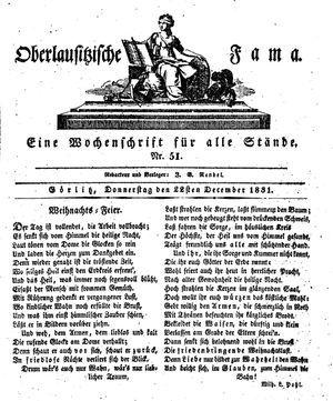 Oberlausitzische Fama vom 22.12.1831
