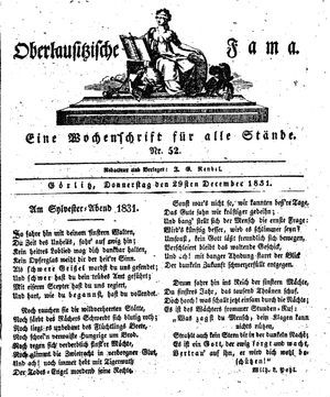 Oberlausitzische Fama vom 29.12.1831