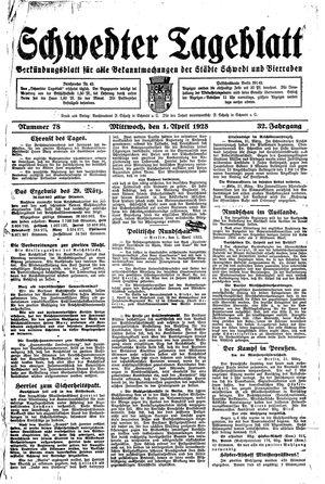 Schwedter Tageblatt vom 01.04.1925