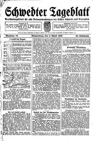 Schwedter Tageblatt vom 02.04.1925