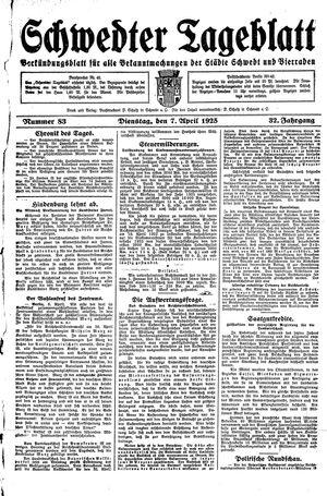 Schwedter Tageblatt vom 07.04.1925