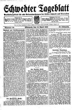 Schwedter Tageblatt vom 15.04.1925